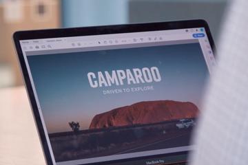 Laptop with Camparoo branding on it, Camparoo testimonial image