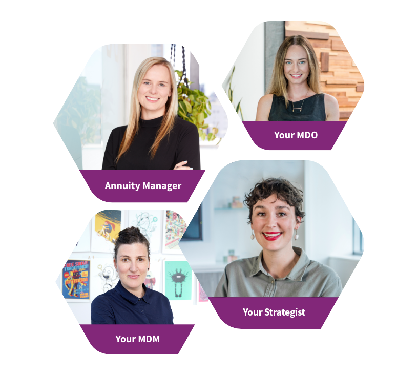 Four of Roobix staff, with their job titles against a purple background.